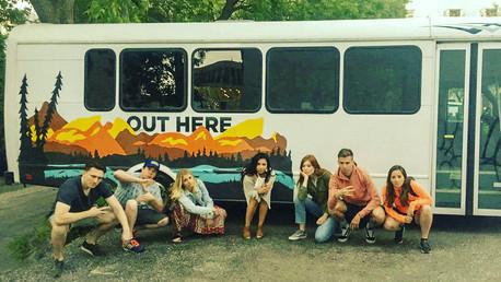 Canada Tour Bus & Passengers Posing