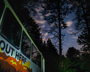 Adventure Bus Canada at Night in Algonquin Park with Stars