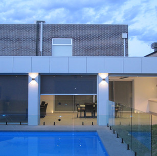 Modern Block Urban House two storey with pool and alfresco glass fence