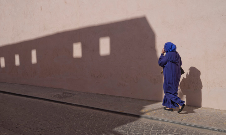 Arab woman walking in the Medina old town of Marrakech, near where Orwell lived for a short time in 1939