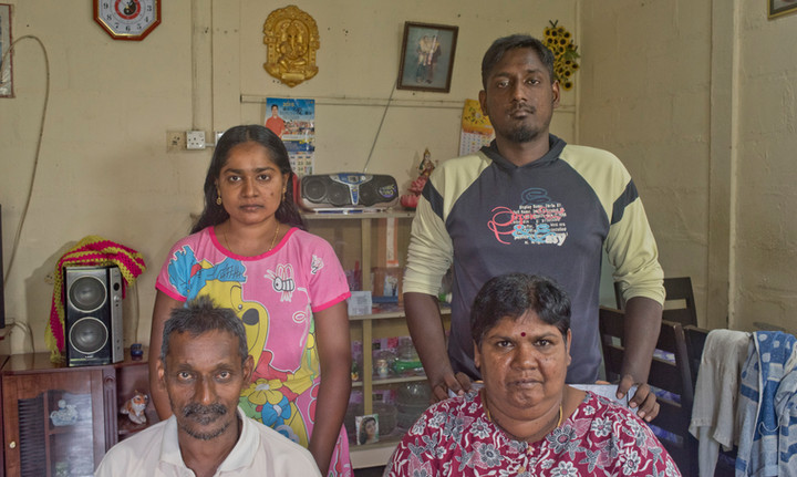 Migrant Tamil palm oil plantation workers and their family in Johor, Malaysia