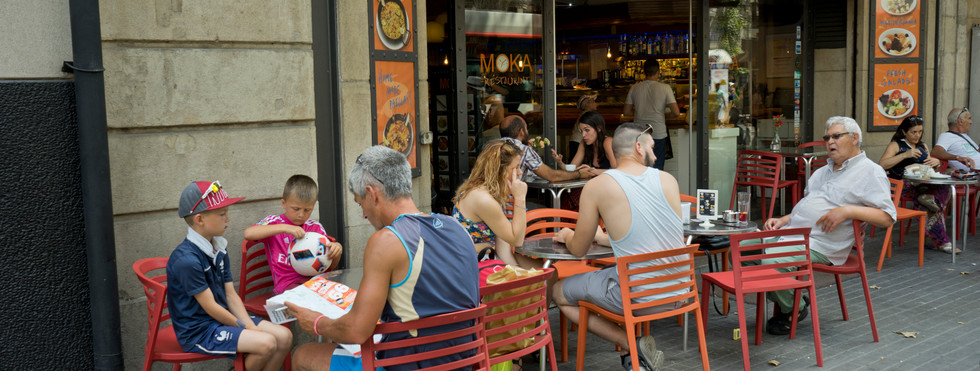 The Moka cafe, still operating, was visited and mentioned by Orwell in 'Homage to Catalonia'.