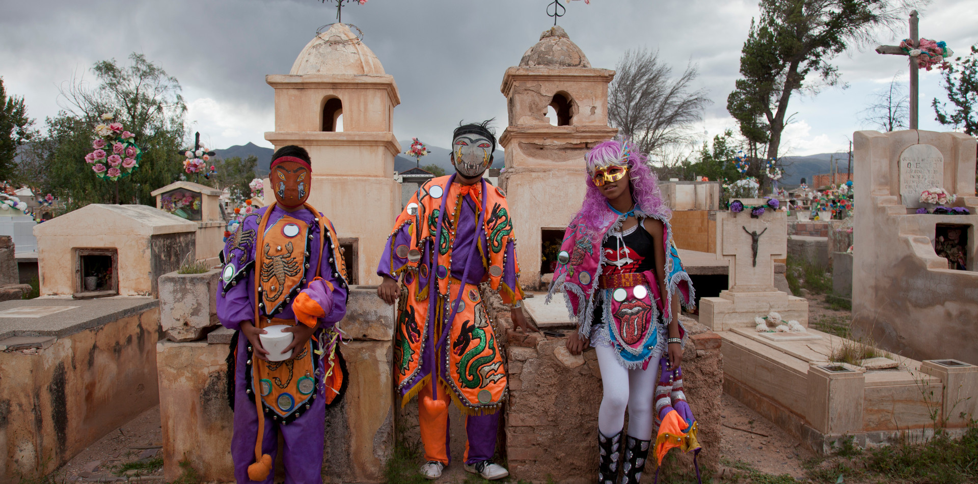 Masqued revellers during Humahuaca carnival in Argentina