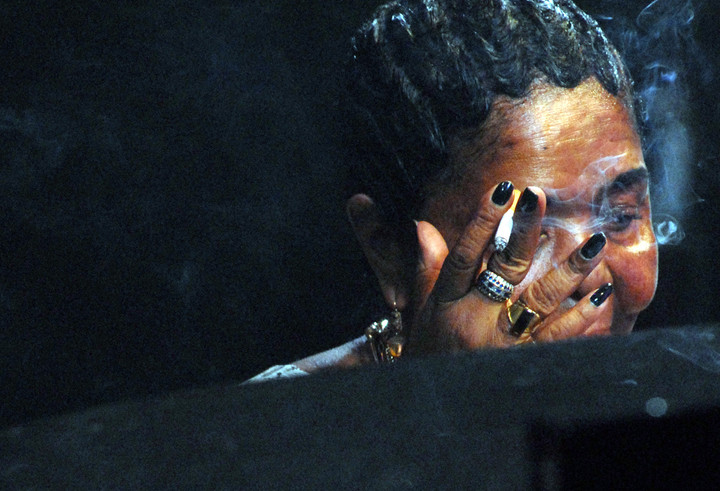 The late Cesaria Evora, from Cape Verde, rehearsing at WOMAD festival
