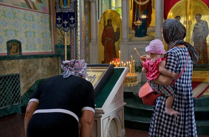 Christian Orthodox church service in Volgograd, Russia