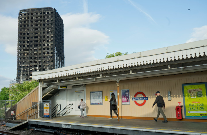 Latimer Road underground station before closure due to debris from fire at Grenfell Tower