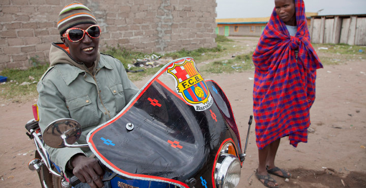 'Masai Messi' and more traditionally attired relative in Kenya