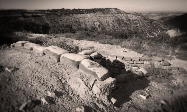 Trenches and air raid shelters in Aragon, Spain, where George Orwell fought for the Republican side during the Spanish Civil War. His experience led him to write: 'Homage to Catalonia'.