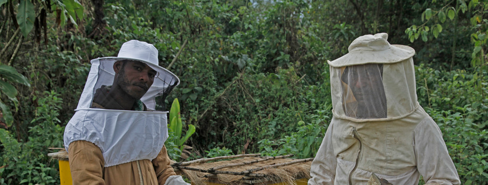 Bee-keepers from Ethiopia with organic honey, shot for campaign for the Body Shop Fairtrade Foundation