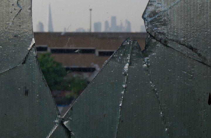 Views of the City financial district of London from a derelict warehouse in Peckham, London