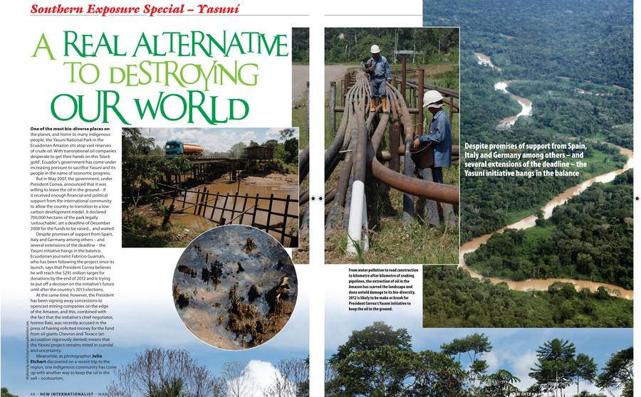 Coverage of environmental alternatives in the Ecuadorean Amazon for the New Internationalist magazine