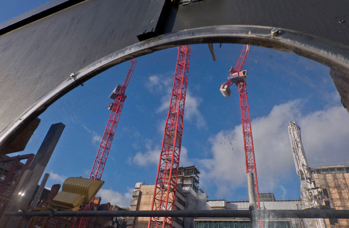 Luxury housing development project in the Strand, London, abandoned and with uncertain future after contractor Carillion went into liquidation leaving many contracts unfinished in the whole of the UK