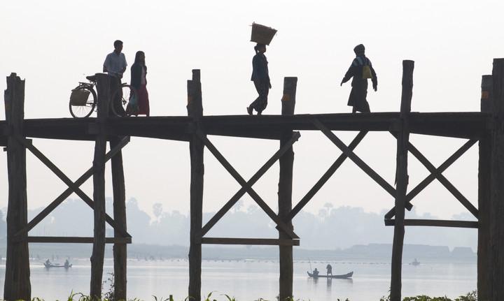 The U Bein bridge on the Irrawaddy river near Mandalay, in the region where George Orwell's 'Burmese Days' was set