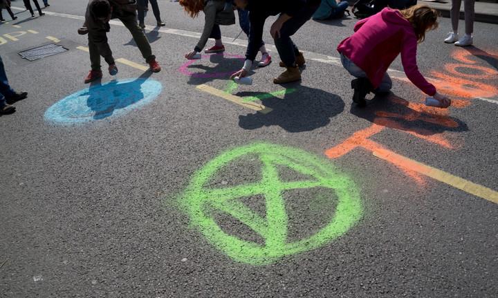 Extinction Rebellion activists demanding urgent action against climate change in London
