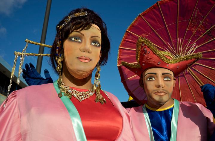 Masked revellers at carnival in Granada, Nicaragua
