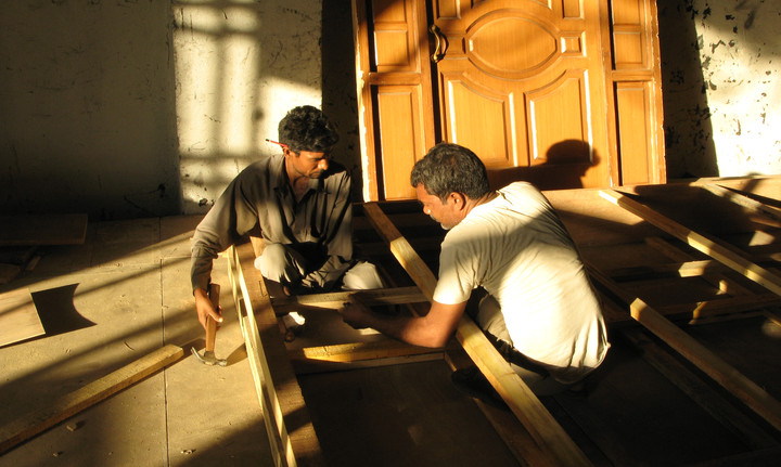 Building of a set at Film City in Mumbai