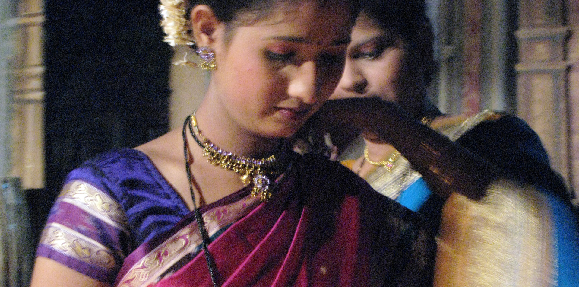 Dancer being dressed at a film studio set in Mumbai