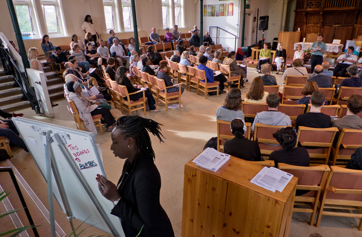 Public meeting of survivors of Grenfell Tower fire at Notting Hill Methodist Church