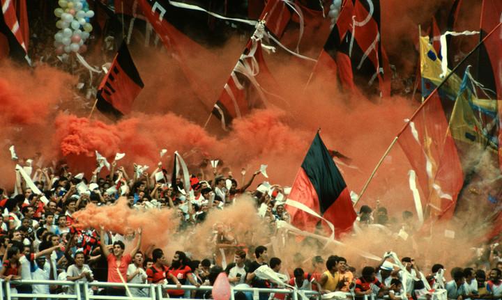 Flamenco vs Fluminense derby game at Maracana stadium in Rio