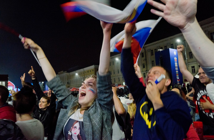 Russian fans in Volgograd celebrating a goal during the football World Cup 2018