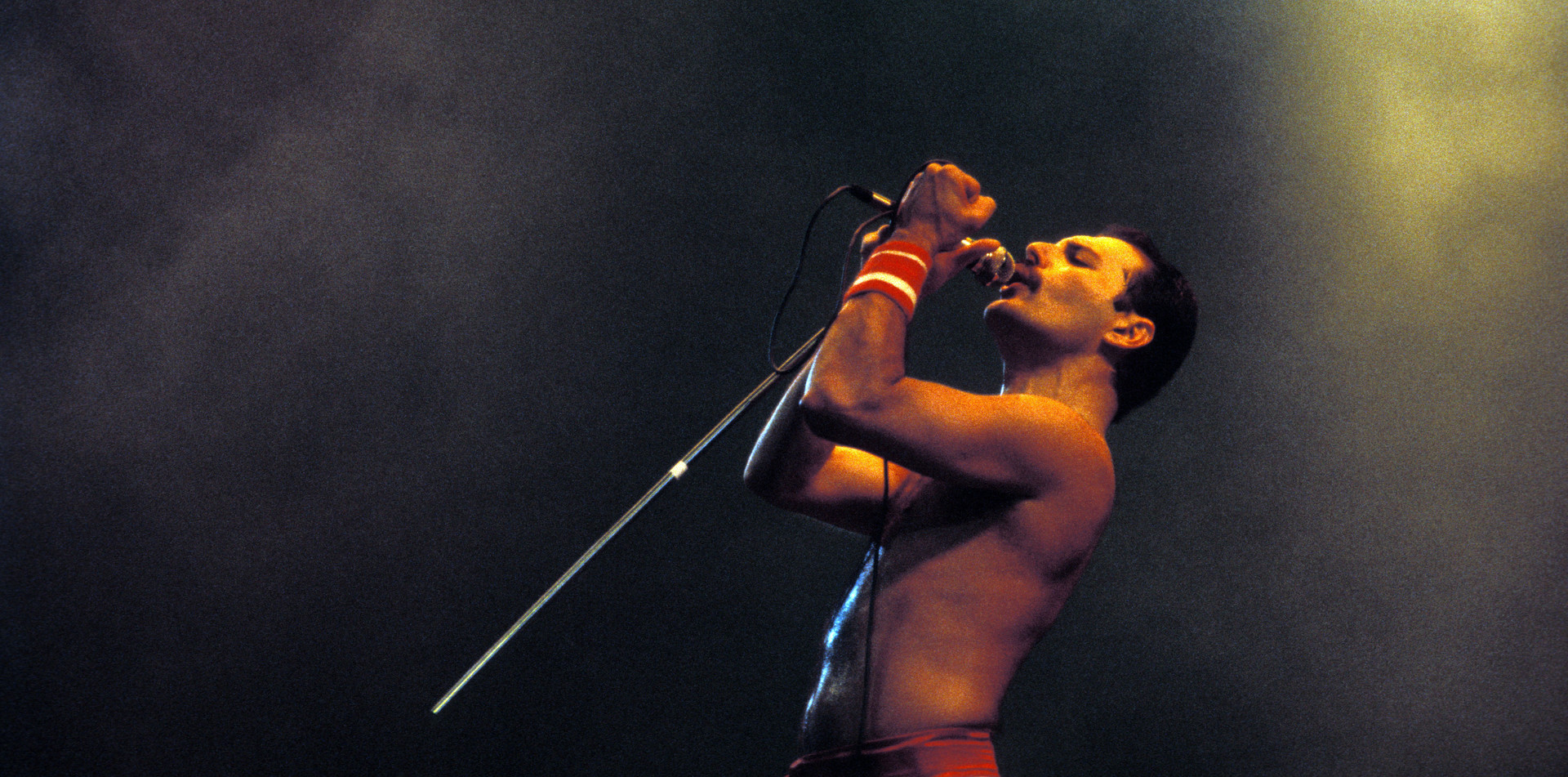 The late Freddy Mercury singing with Queen at Wembley stadium in the 1980s
