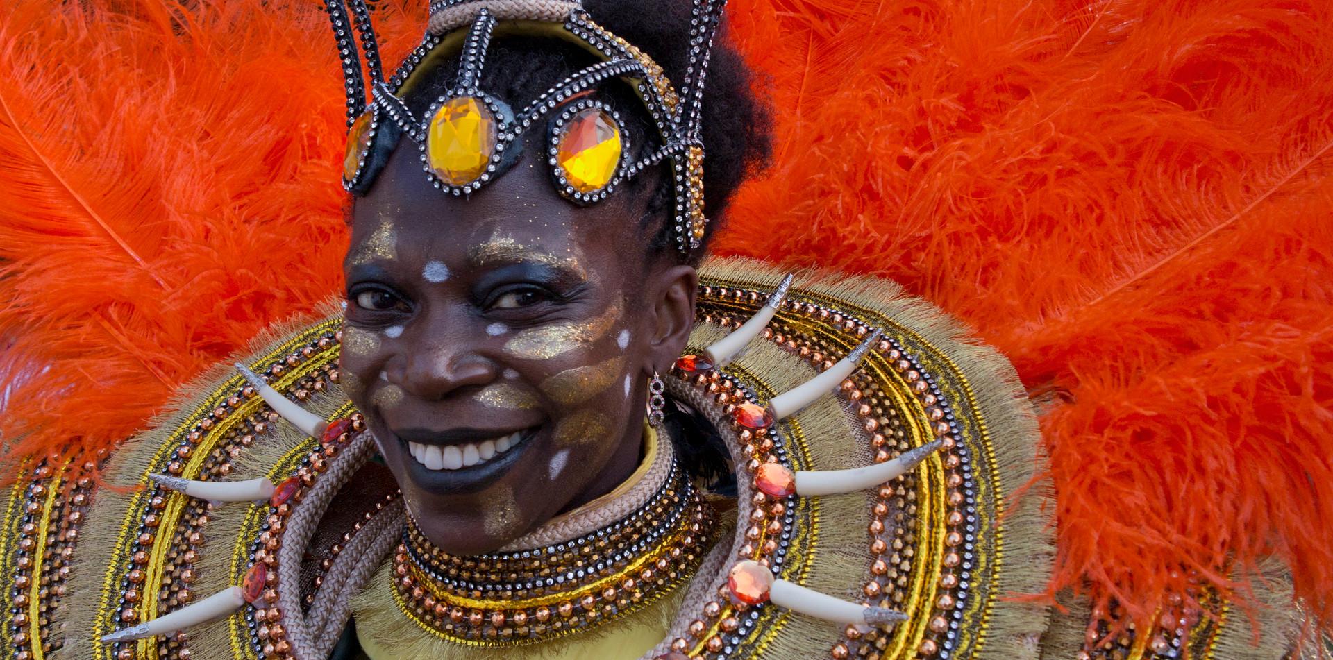 African Brazilian dancer rehearsing for carnival in Rio