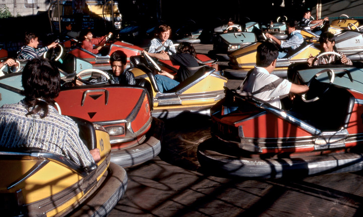 Roster cars in a fairground in Uruguay