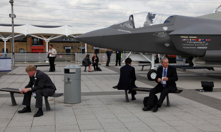 Visitors to the Defence and Security Equipment International exhibition in London, UK
