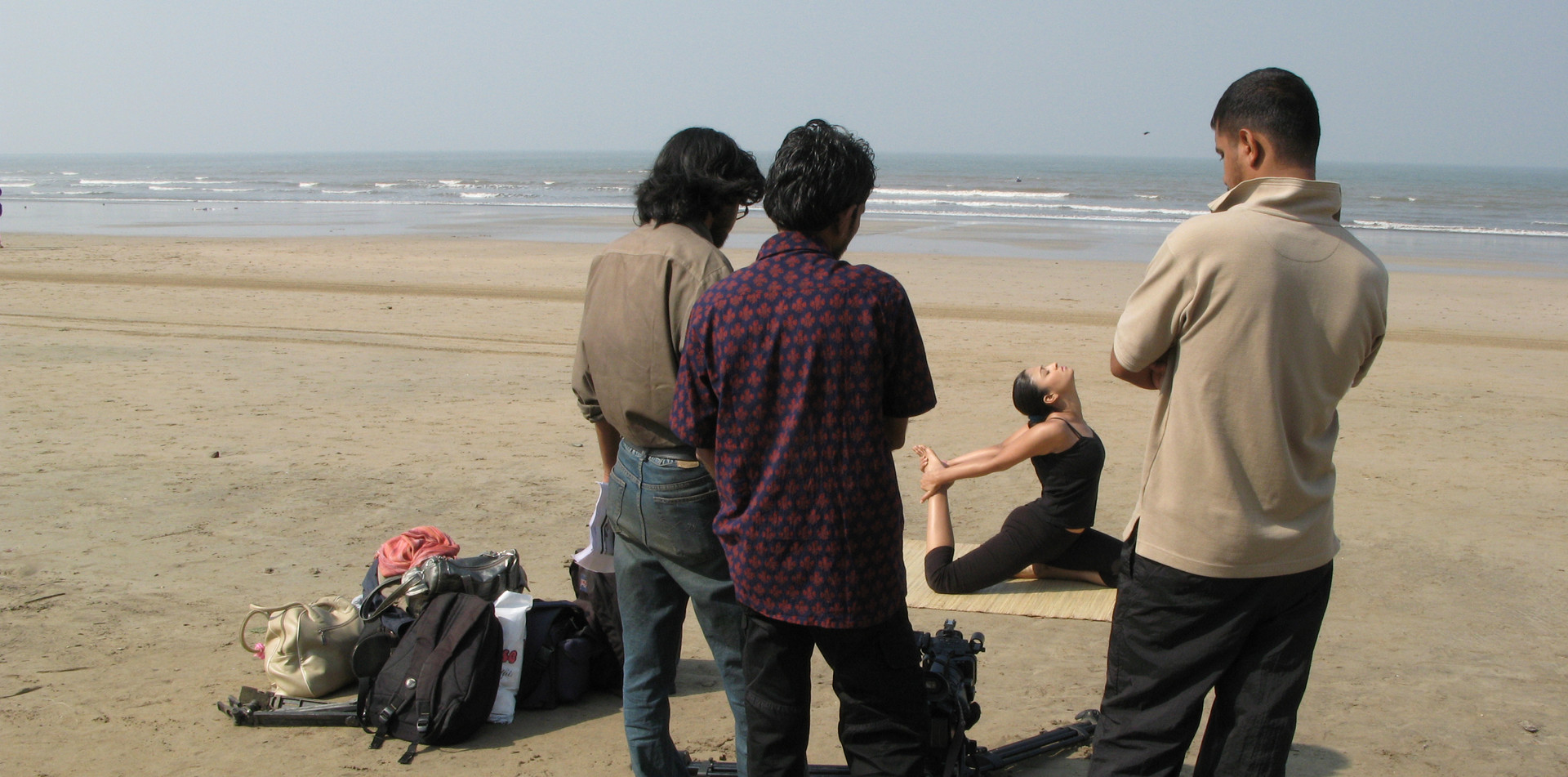 Casting session for a film on yoga and dance routine at a beach in Mumbai