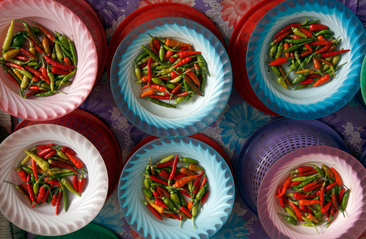 Hot chilli peppers at a market stall in Borneo