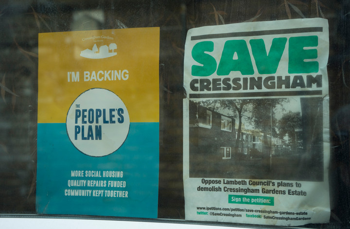 Leaflets from local neighbours against demolition of the Cressingham Gardens low-rise council housing estate in Lambeth, south London