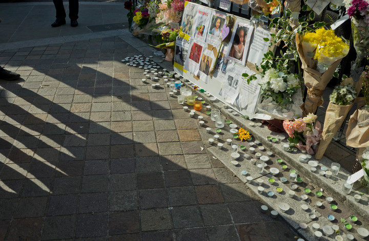 Flower offerings for victims of the fire disaster at the Grenfell Tower in London