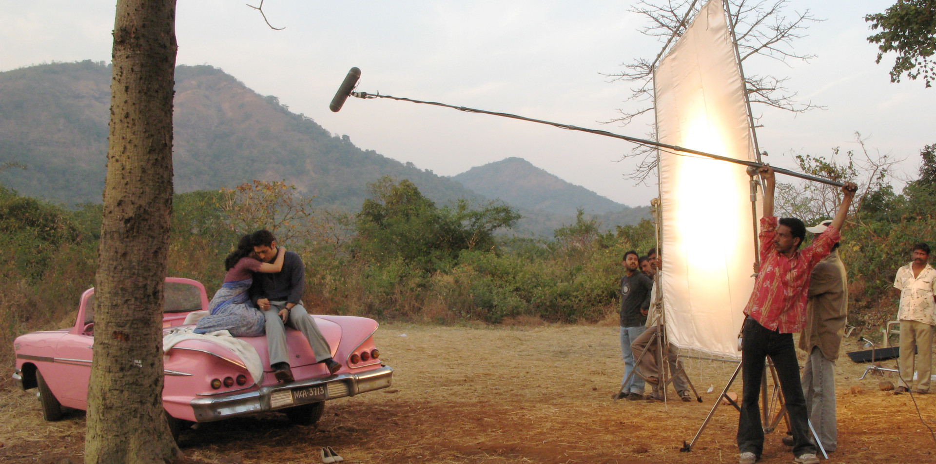 Romantic scene being shot on location at Film City in Mumbai