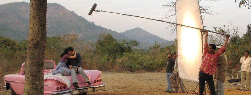 Romantic scene being shot on location at Film City in Mumbai