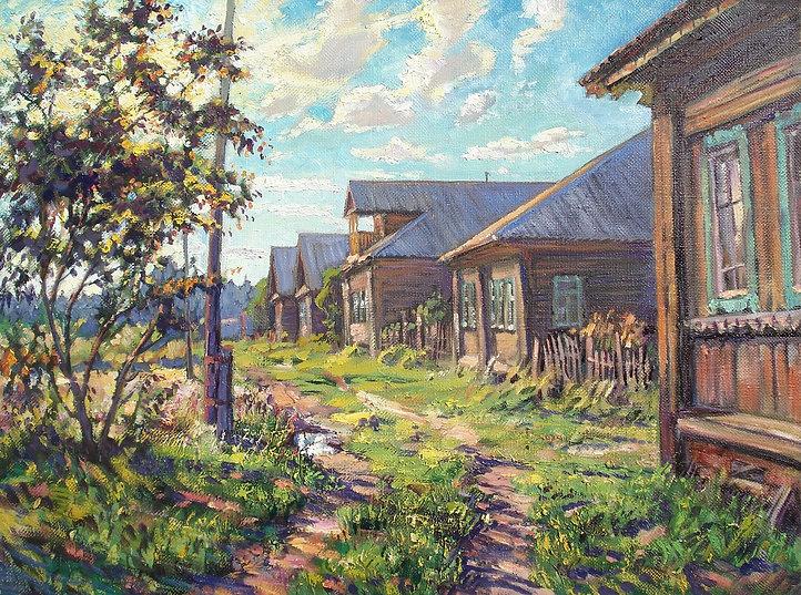 285. Вечер в деревне Губарёво 60х80, х.,