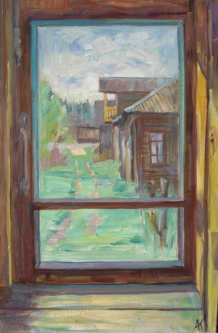 310. Вид из окна дома в Губарёво 60х40,