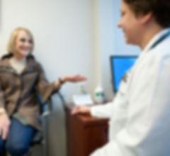 Internist, Dr. Jennifer Everton with patient