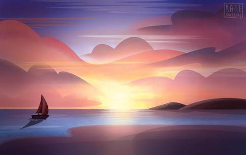 Sunset Sailing Illustration