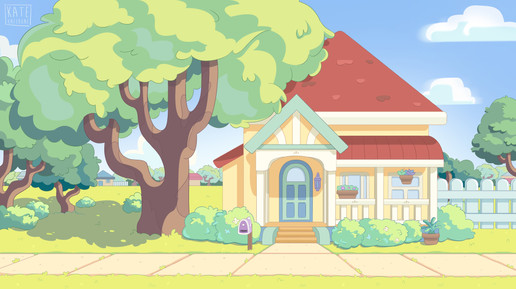 Background design & paint in 'Bluey' style