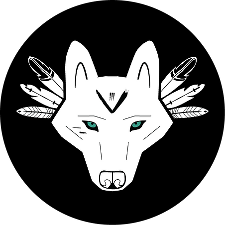 Wolf face filled in white with no backgr