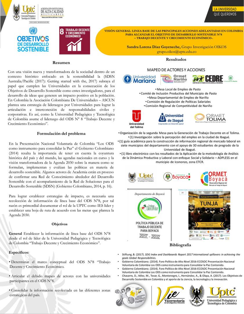 Visión general: Linea base de las principales acciones adelantadas en colombia para alcanzar el objetivo de desarrollo sostenible N°8 - Trabajo Decente y Crecimiento Económico