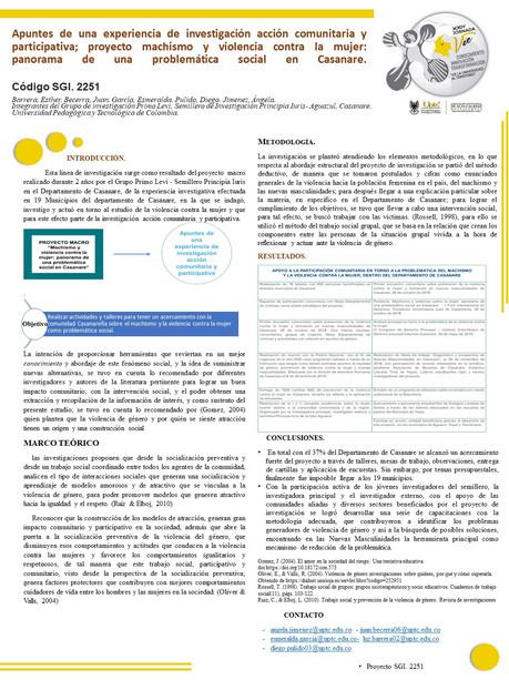 Apuntes de una experiencia de investigación acción comunitaria y participativa; proyecto machismo y violencia contra la mujer: panorama de una problemática social en Casanare.