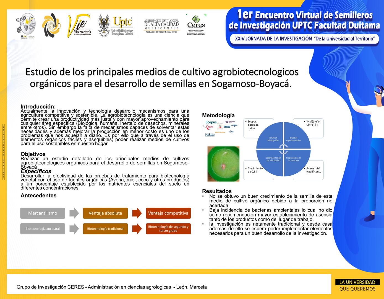 Estudio de los principales medios de cultivo agrobiotecnologicos orgánicos para el desarrollo de semillas en Sogamoso-Boyacá