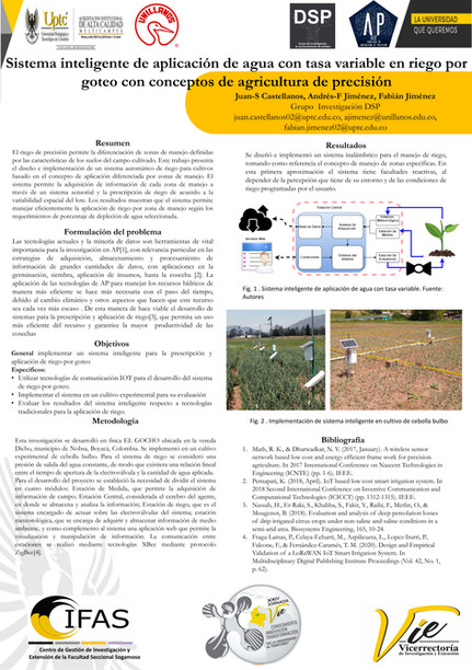 Sistema inteligente de aplicación de agua con tasa variable en riego por goteo con conceptos de agricultura de presición