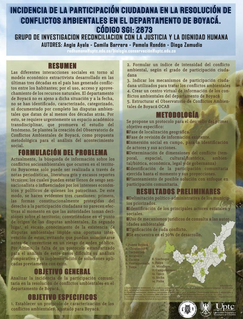 Incidencia de la participación ciudadana en la resolución de conflictos ambientales en el Departamento de Boyacá.