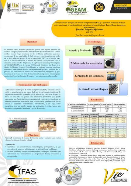 Fabricación de bloques de tierra comprimidas (BTC) a partir de residuos de roca provenientes de la explotación de carbono en el municipio de Tasco - Boyacá empresa ASOCARBONERA