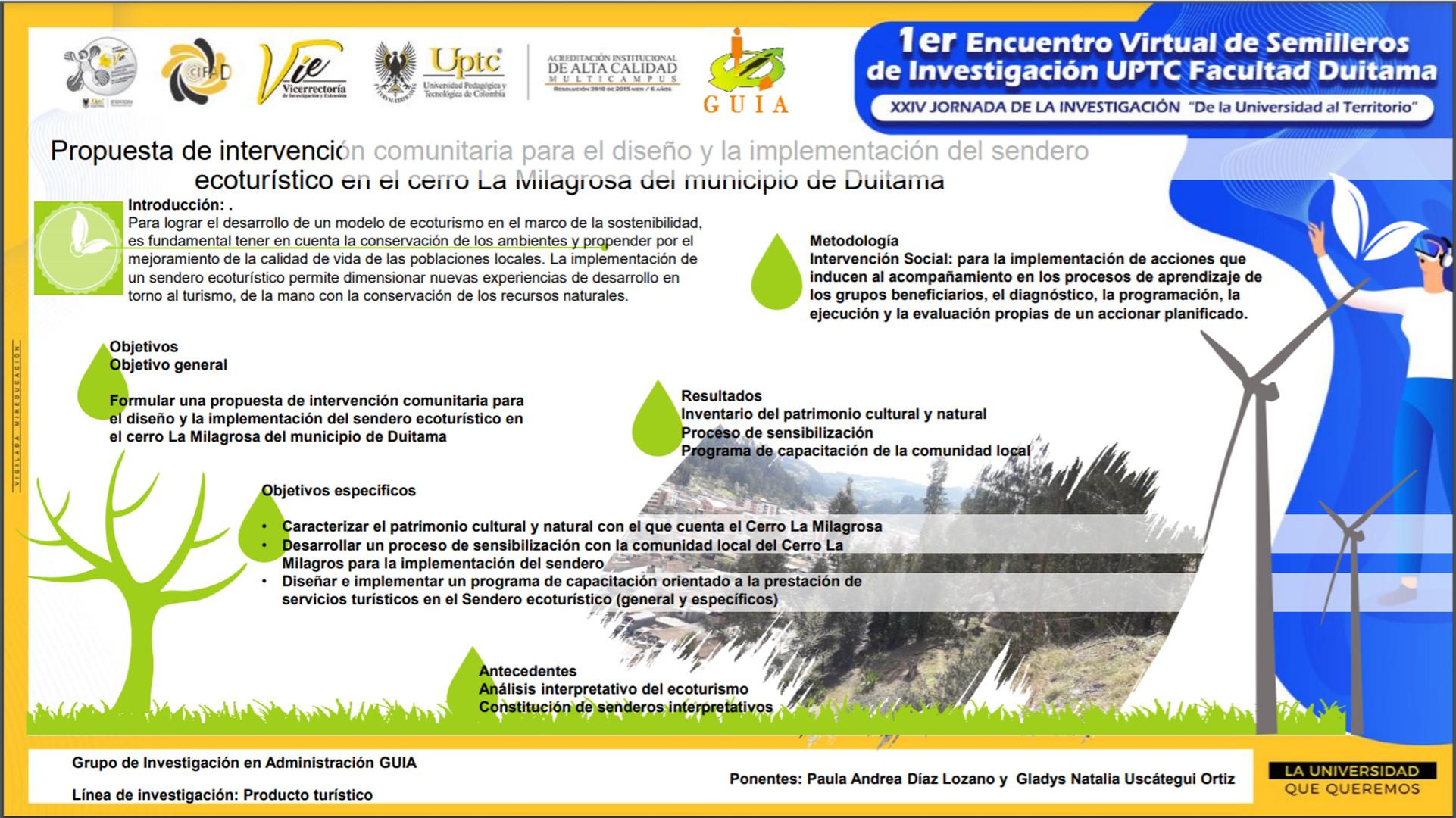 Propuesta de intervención comunitaria para el diseño y la implementación del sendero ecoturístico en el cerro La Milagrosa del municipio de Duitama