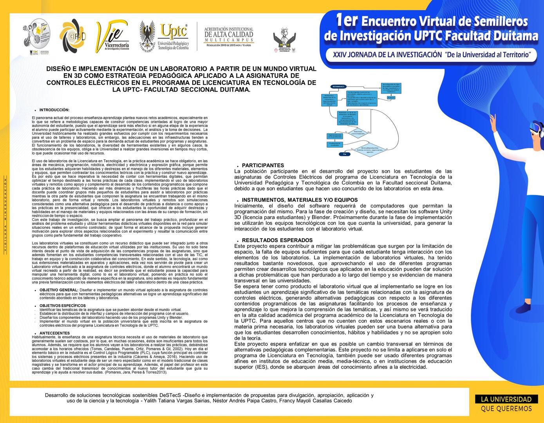 Diseño e implementación de un laboratorio a partir de un mundo virtual en 3d como estrategia pedagógica aplicado a la asignatura
