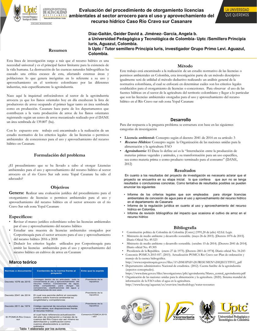 Evaluación del procedimiento de otorgamiento licencias ambientales al sector arrocero para el uso y aprovechamiento del recurso hídrico Caso Río Cravo sur Casanare
