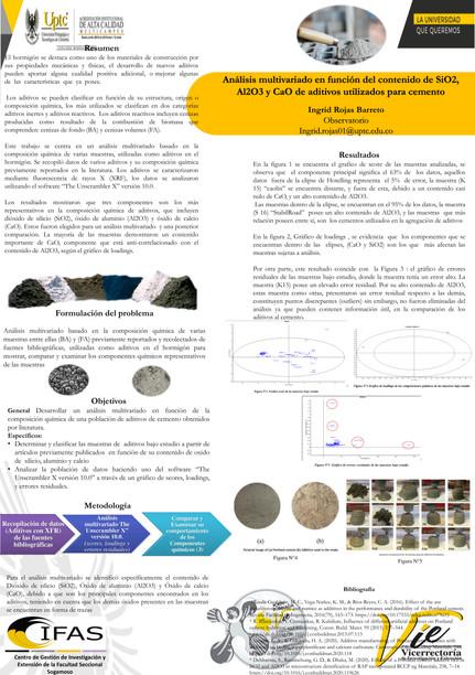 Análisis multivariado en función del contenido de SiO2, A12O3 y CaO de aditivos utilizados para cemento